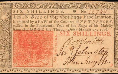 NJ-159. New Jersey. 1776. 6 Shillings. Choice About Uncirculated.