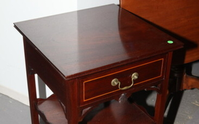 PAIR CHIPPENDALE-STYLE CABINET-MADE MAHOGANY BEDSIDE TABLES, BY P. FIFE HUBBARD,...