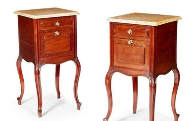 PAIR OF FRENCH MAHOGANY MARBLE TOP TABLES DE NUIT LATE