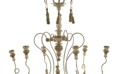 Painted and Parcel-Gilt Wood and Metal Chandelier