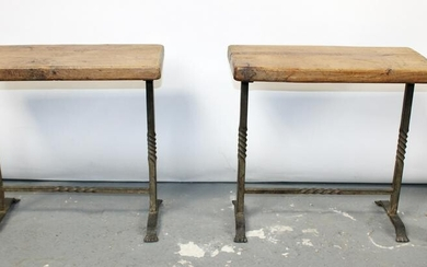 Pair French forged iron stools with oak seats