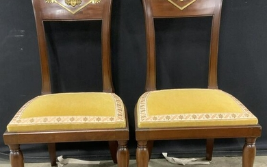 Pair Vintage Empire Style Side Chairs