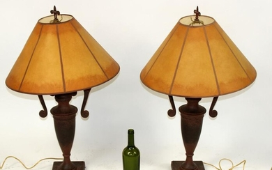 Pair of faux painted metal urn form lamps