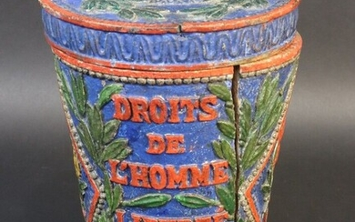 """Covered pot in polychrome carved wood with revolutionary decoration and inscription. """"Duty of Man. To die for the nation. Rights of Man. Freedom. Equality. RF"""". Decorated in two cartridges in rhombuses of a Phrygian cap on a pike and the spade of..."""