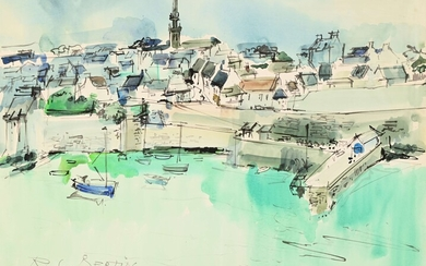 """Roger BERTIN (1915-2003) """"Le Conquet"""" watercolor sbg titled and dated 74. 50x65"""