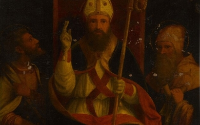 Saint Augustine enthroned with Saint Anthony Abbot and another saint, Andrea Previtali