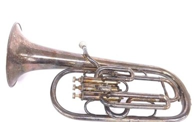 Silver plated tenor horn by and inscribed Couesnon & Cie...