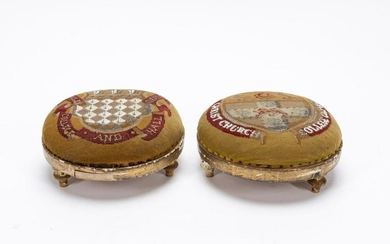 TWO, 19TH C. ENGLISH OXFORD NEEDLEPOINT FOOTSTOOLS
