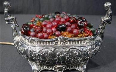 Victorian silver-plate center piece with light