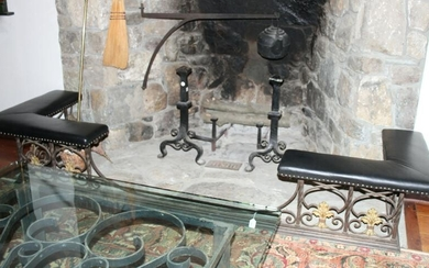Wrought Iron Fireside Bench with Leather Seats