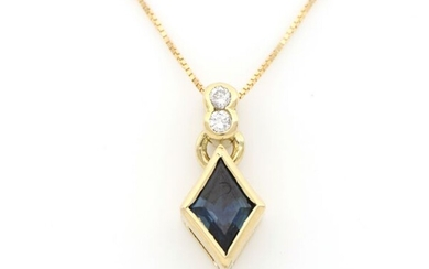 18 kt. White gold - Necklace with pendant - 0.40 ct Sapphire - Diamonds
