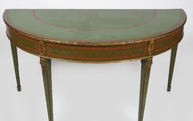 19TH-CENTURY PAINTED & PARCEL GILT SIDE TABLE
