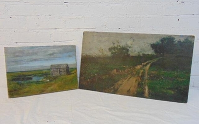 2 paintings, marsh scene & country road, small cabin