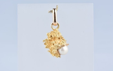 24 kt. Gold, Yellow gold, White cultured pearl 6 mm - Pendant