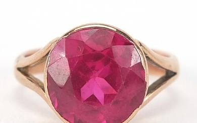 9ct rose gold ruby solitaire ring, the stone approximately 1...