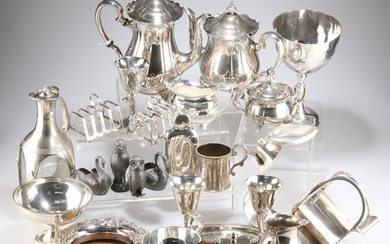 A COLLECTION OF SILVER-PLATE, including large