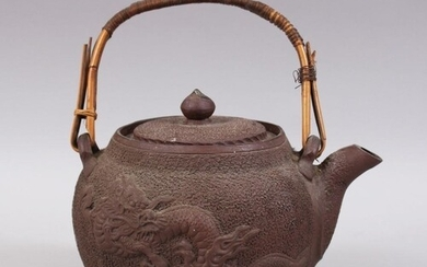 A JAPANESE MEIJI PERIOD MOULDED CLAY / YIXING STYLE DRAGON T...