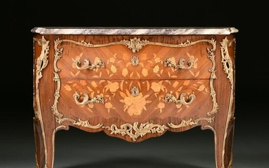 A LOUIS XV STYLE ORMOLU MOUNTED AND MARBLE TOPPED