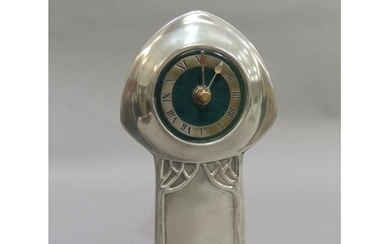 A Liberty Heritage pewter and green enamel mantel clock afte...