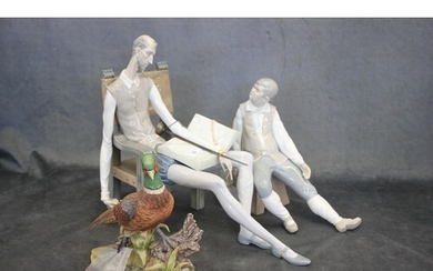 A Lladro figure of Don Quixote seated in chair, 37cm high a....