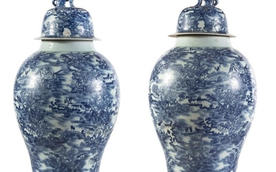 A PAIR OF BIG CHINESE WHITE AND BLUE PORCELAIN VASES FIRST HALF 20TH CENTURY.