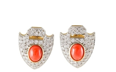 A PAIR OF DIAMOND AND CORAL EARRINGS, the cabochon corals to...