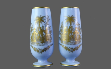 A PAIR OF EARLY 20TH CENTURY OPAQUE GLASS VASE