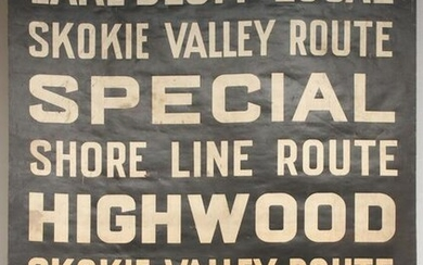 A PRINTED CANVAS GATE SIGN FOR THE CNW SKOKIE LINE RTE