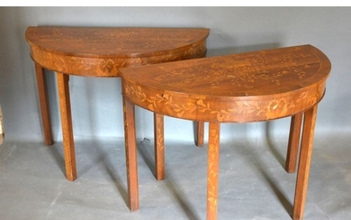 A Pair of 19th Century Marquetry Inlaid Demi-Lune Console Ta...