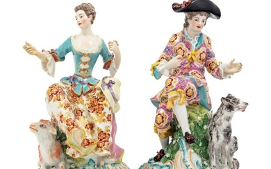 A Pair of Chelsea Porcelain Figural Groups