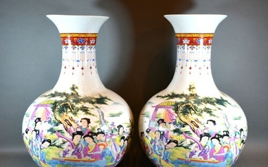 A Pair of Chinese Large Bottleneck Vases decorated in polych...