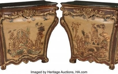 A Pair of Italian Rococo-Style Painted and Parti