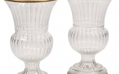A Pair of Large French Baccarat-Style Crystal Ur