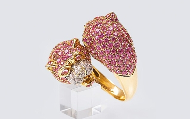 A Pink Sapphire Ring 'Panther'.