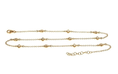 NOT SOLD. A diamond necklace set with numerous diamonds weighing a total of app. 0.93 ct., mounted in 18k gold. L. app. 40.5-42.5 cm. – Bruun Rasmussen Auctioneers of Fine Art