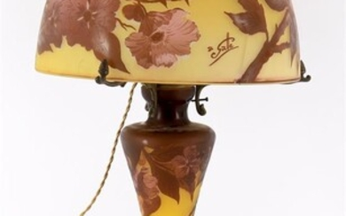 A large modern Galle style glass lamp base and shade