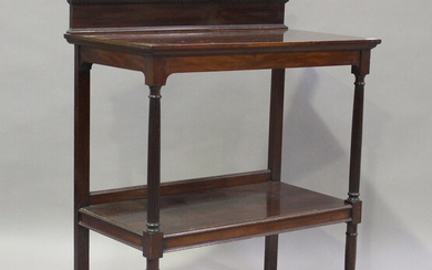 A late Victorian mahogany two-tier buffet, on reeded supports, height 107cm, width 91cm, depth 51cm.