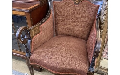 A late Victorian marquetry inlaid rosewood armchair, width 6...