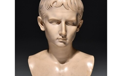 A marble resin bust of the Emperor Augustus, 20th century, a...