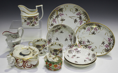 A mixed group of Staffordshire pottery and porcelain, 19th century, including a John Rose Coalport p