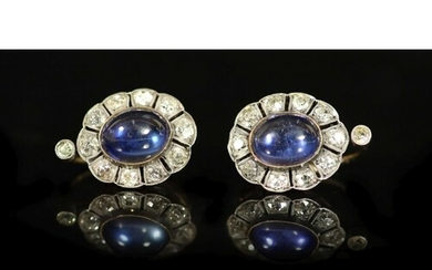 A pair of 19th century gold and silver, cabochon sapphire? a...