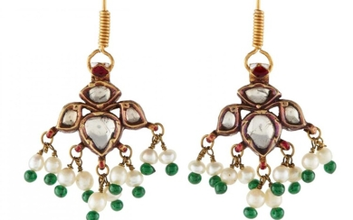 A pair of ruby, emerald and diamond set gold earrings by repute formerly in the collection of Maharani Jindan Kaur (1817-63) ), wife of Maharajah Ranjit Singh (1780-1839, Punjab, North India, first half 19th century, the central element formed of a...