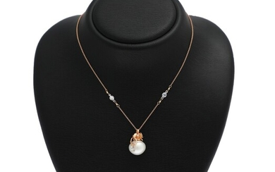 A pearl and diamond necklace set with a cultured fresh water pearl and numerous diamonds,...