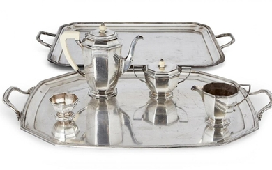 A three-piece George VI silver tea set, Sheffield, c.1937, Mappin & Webb, and a silver plated twin-handled Mappin & Webb tray, the teapot, milk jug and lidded sugar of octagonal, panelled form, the teapot with angular ivory handle and domed ivory...