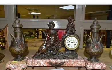 AN EARLY TWENTIETH CENTURY BRONZED SPELTER AND MARBLE CLOCK ...