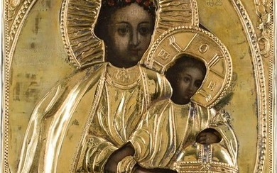 AN ICON SHOWING THE MOTHER OF GOD SHESTOKOVSKAYA WITH A