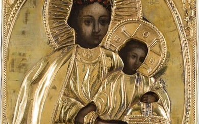 AN ICON SHOWING THE MOTHER OF GOD SHESTOKOVSKAYA WITH A...