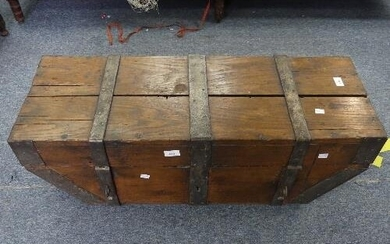 An antique iron bound oak Travelling Chest, with hinged top ...