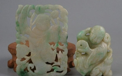 Antique Chinese Apple Green Jade Figurines