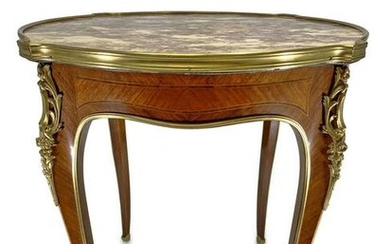 Antique French Linke style marble top ormolu table